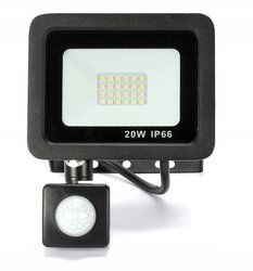 Naświetlacz LED 20W z czujnikiem halogen barwa biała neutralna 4000K